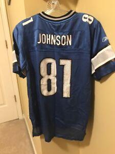 CALVIN JOHNSON DETROIT LIONS JERSEY YOUTH L REEBOK #81 BLUE NFL HONLULU