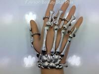 Skeleton Hand Bones Moving Joints 5 Finger Bracelet Ring - Silver Tone