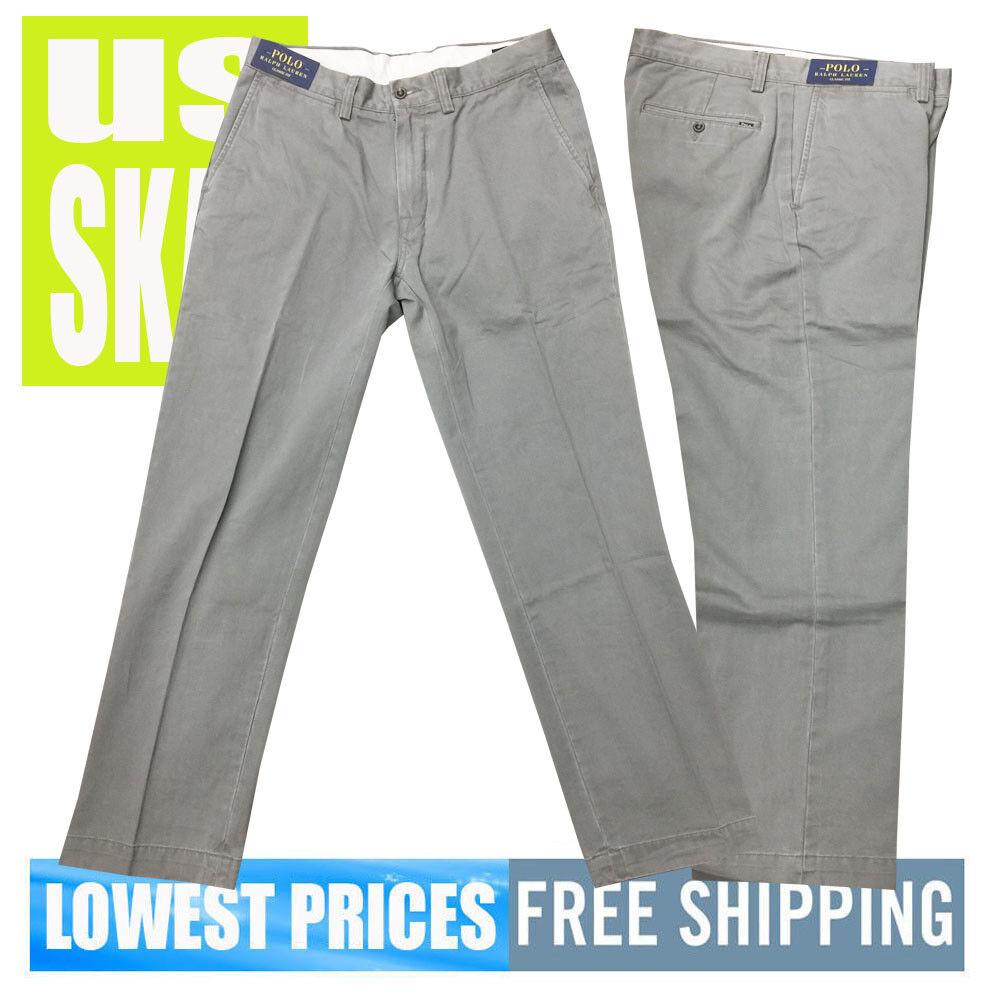 Polo Ralph Lauren NWT Men's CLG Grey Classic Fit 100% Cotton Pants 33 x 32