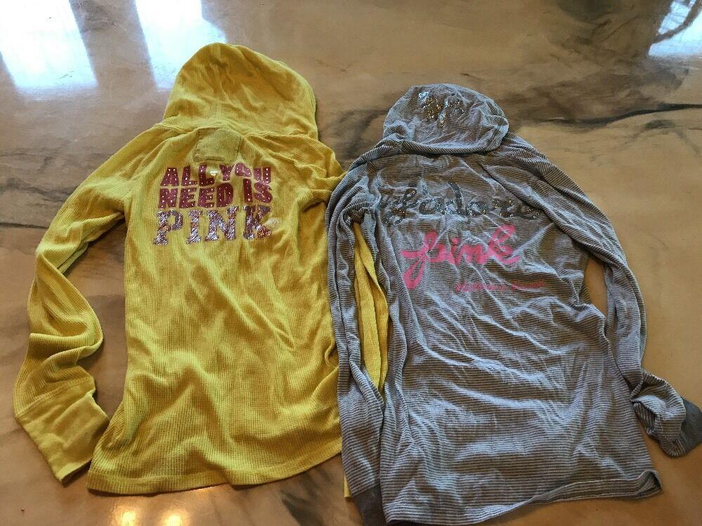 Pink Victoria Secret Lot 2 Hoodie Tops Yellow Grey Design S M