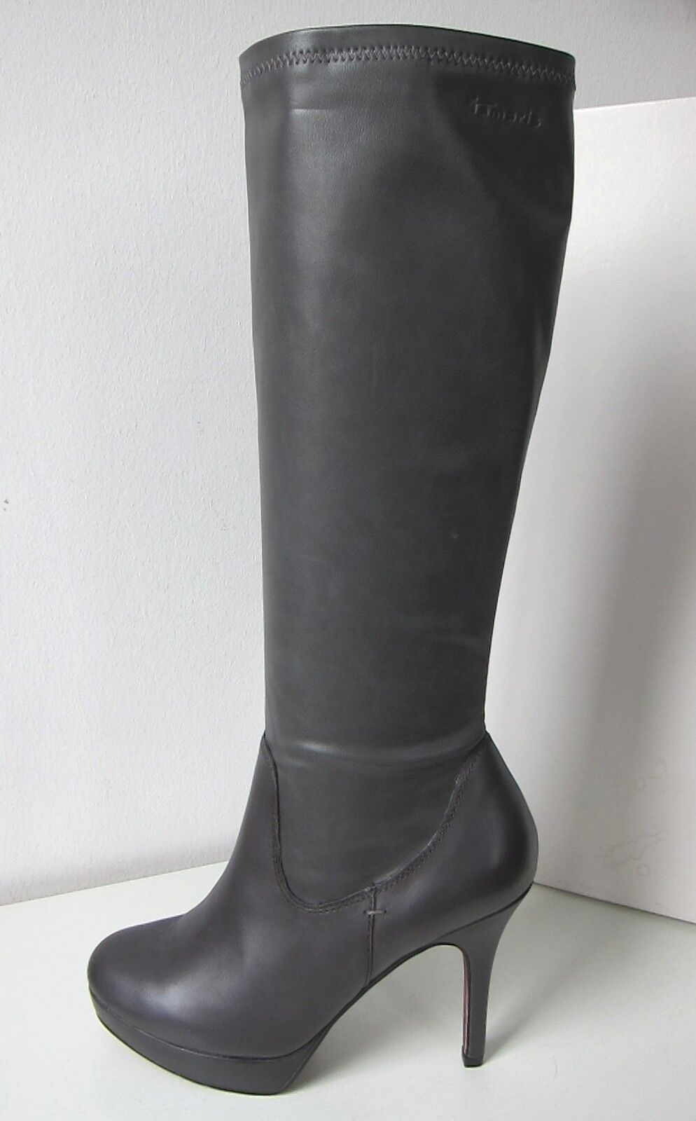 Tamaris Leather Artificial Platform boots grey Size 41 graphite