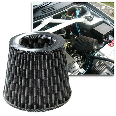 """Black Universal 3"""" 76mm Short Ram Tapered Cone Car Cold Air Intake Filter"""