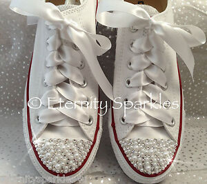 686a517d1fb135 Image is loading Customised-White-Pearl-And-Crystal-Wedding-Converse-All-