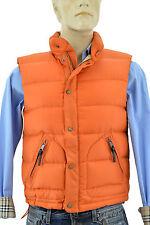 $595 BURBERRY Brit Orange Check Puffer Duck Down Gilet Mens Vest Jacket Size M