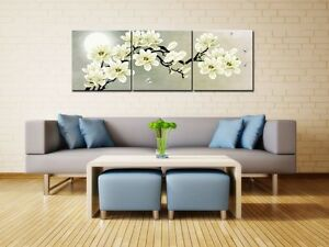 3 pcs picture white magnolia flower wall art print canvas framed home hang decor 737590481895 ebay. Black Bedroom Furniture Sets. Home Design Ideas