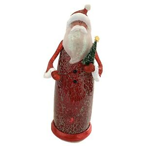 Home-Decor-Light-Up-Santa-Claus-Figurine-Glitter-Red-Hat-11-X-3-1-2