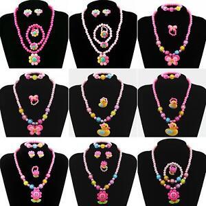 Kids Girls Child Pearl Flower Shape Necklace Bracelet Ring Ear