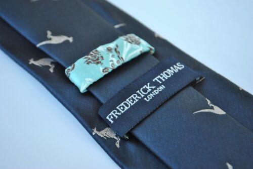 Dunkel Marineblau Bestickt Känguru Frederick thomas Designer Herren Krawatte