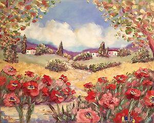 KADLIC-Tuscany-Italy-Red-Poppy-Poppies-Landscape-Original-Oil-Painting-24-034-x30-034