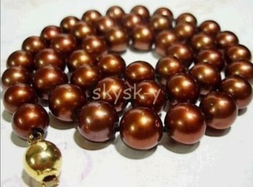 """Pretty 8mm Chocolate Akoya shell Pearl Necklace 18/"""" AAA"""