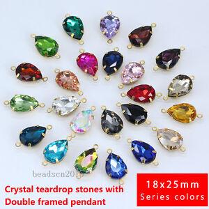 15p-Glass-crystal-Teardrop-color-Rhinestone-Daggle-connectors-18x25mm-Bead-2Hole