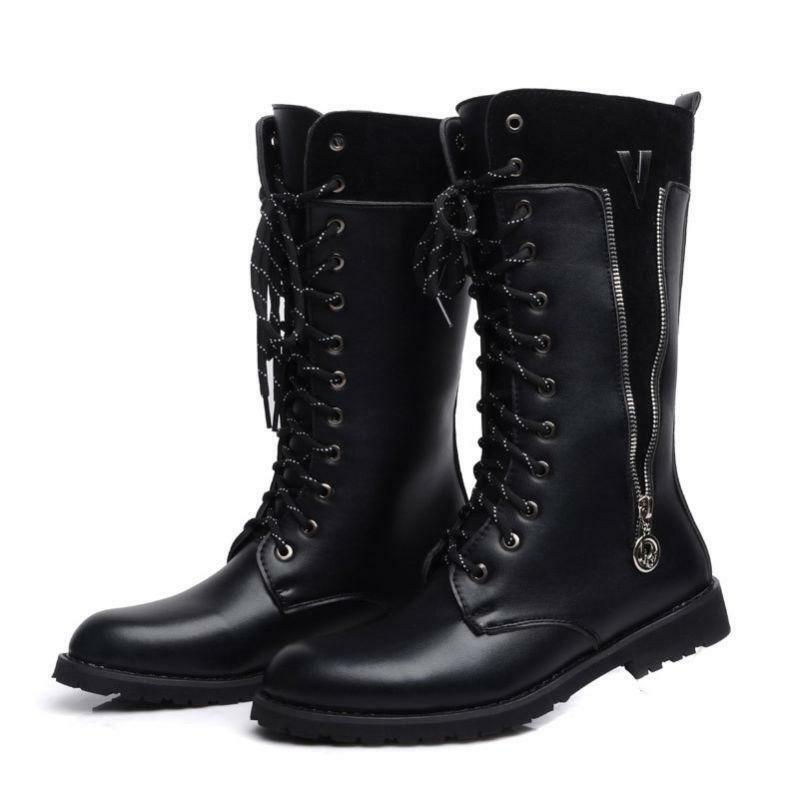 af36ae5bba Mens Mid Calf Zip Fur Winter Autumn Riding Military Boots Punk Goth shoes  2019