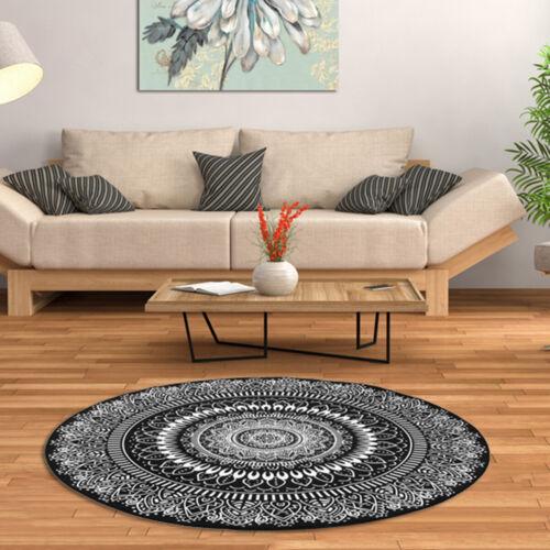 Mandala Lilies Lotus Round Soft Yoga Mat Rugs Non slip Carpet Floor Bathmat Rug