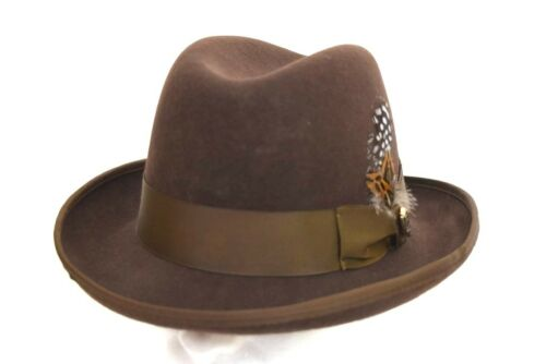 XL M L Men/'s Godfather Dress Hat Solid Brown GF-101 100/% Wool Sizes S