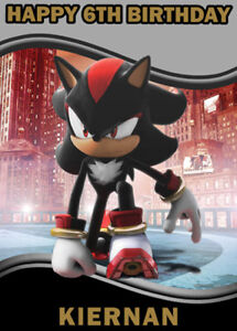 Details About Shadow From Sonic Personalised Birthday Card Add Your Own Name Age