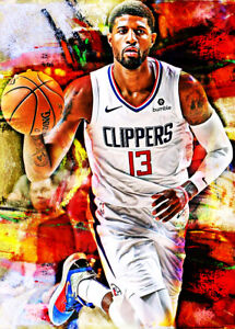 2021 Paul George Clippers Basketball 11/25 Art ACEO Print Card By:Q