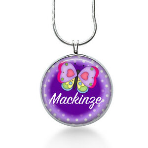 Personalized-Name-necklace-Butterfly-Gift-birthday-childs-girls-purple-your-name