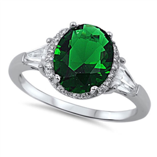 Women's Wedding Emerald CZ Halo Ring New .925 Sterling Silver Band Sizes 4-12