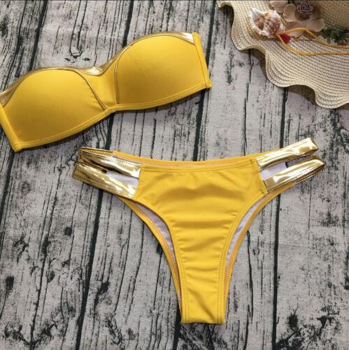 Women Strapless Bronze Swimsuit Push Up Paded Bikini Set Beachwear Bathing Suit