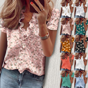 Womens-Shirt-Loose-Summer-Ruffles-Ladies-Basic-Blouse-Buttons-Floral-Tops-UK6-22