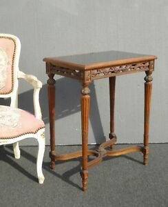 Antique French Louis Xvi Side Entry Table Ornately Carved W Smokey