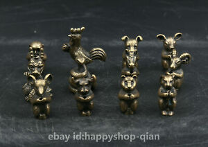 12PCSCollection-Curio-Chinese-Bronze-Twelve-Zodiac-Lucky-Animal-Small-Statue-Set