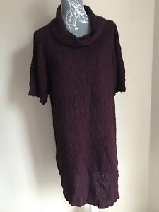 Next-Womens-Tunic-Jumper-Dress-Size-18-20-Purple-Short-Sleeved-Roll-Neck