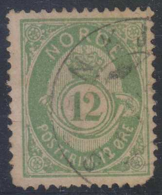 Europe Norway Obedient Norway 1882-93 Post Horn Sc 41 Key Value Used Scarce Scv$500.00