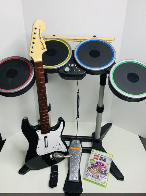 Xbox 360 Rock Band Bundle - Fender Stratocaster + Drums TESTED