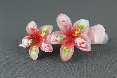 Pink ombre plumeria hair clip hawaiian flower barrette alligator claw clamp