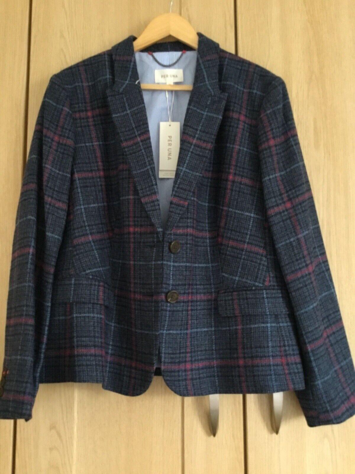 Per una blue tartan lined pure wool jacket size 20 New