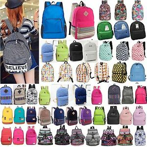 Women Men Rucksack Shoulder Bookbag School Satchel Travel Canvas Backpack Bags