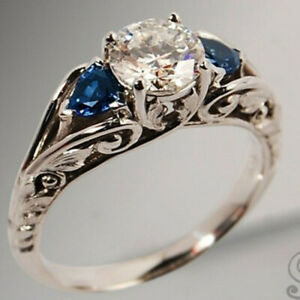 Antique-925-Silver-White-Topaz-Ring-Women-Sapphire-Wedding-Jewelry-Gift-Size6-10