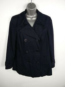 WOMENS-MARKS-amp-SPENCER-NAVY-BLUE-BUTTON-UP-DOUBLE-BREASTED-SMART-PEA-COAT-UK-14