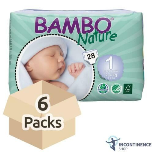 2-4kg 500ml - Case Bambo Nature Size 1 6 Packs Newborn Nappies