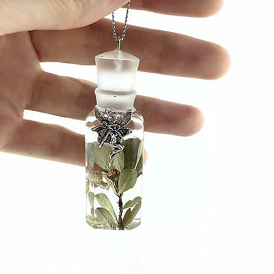 FOREST FAIRY PENDANT NECKLACE REAL FLOWER! UNIQUE PIECE, NEW, HANDMADE JEWELRY