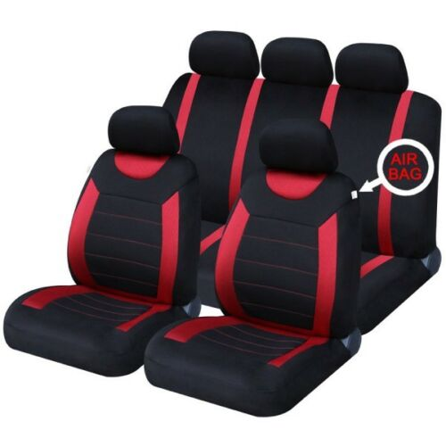 RED /& BLACK CLOTH FIAT SEICENTO FULL CAR SEAT COVER SET