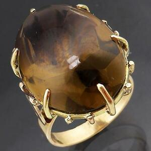 Substantial-Buff-Top-SMOKY-QUARTZ-9k-Solid-Yellow-GOLD-COCKTAIL-RING-Mid-Sz-N1-2