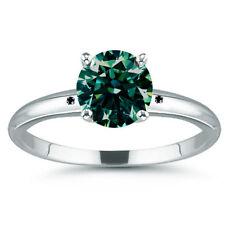 2.26 ct SI2./BLUE GREEN REAL MOISSANITE & NATURAL BLACK DIAMOND .925 SILVER RING
