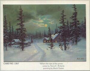 VINTAGE CHRISTMAS FARM SILO FULL MOON SNOW TIPS PINE TREES BUCK TEETER ART CARD