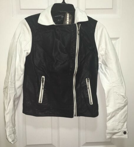 ASHLEY by 26 Intl Faux Leather Color Block Black White Crop Jacket NWT Jrs S L