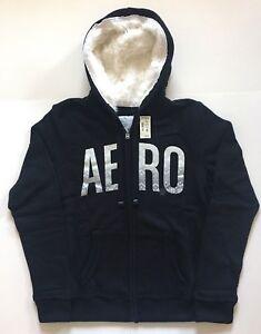 Aeropostale Aero Women S Black Faux Fur Hood Full Zip