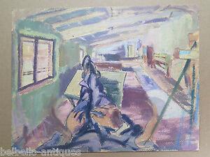 Quadro moderno dipinto ad olio originale veduta interno casa del