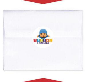 24 pocoyo party favor birthday personalized envelope stickers seals