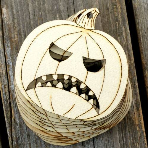 10x Wooden Halloween Angry Pumpkin Face Craft Shapes 3mm Plywood