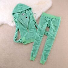 Green Women's-Juicy-Couture-Size M-Velour-Sweatsuit-Tracksuit-USA Seller