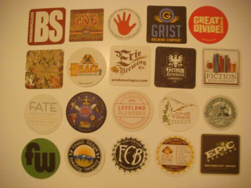 20 Beer COASTERS Great Divide,Bootstrap,Epic,FunkWerks,Grist,Loveland,Lone Tree
