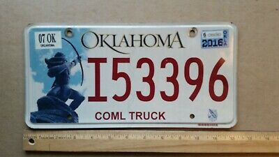 Oklahoma NATIVE AMERICA License Plate MINT condition ARCHER INDIAN BOW ARROW