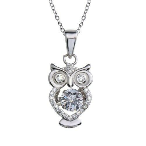 OWL NECKLACE PENDANT W// DANCING CENTER STONE 925 STERLING SILVER //18/'/' CHAIN