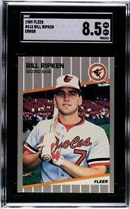 BILLY RIPKEN 1989 FLEER HILARIOUS FF ERROR CARD #616 SGC GRADED NM-MT